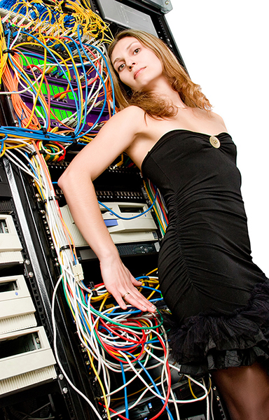 bad network stock photo: woman in a fancy dress against a rack